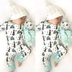 Newborn Toddler Baby Boy Clothes Fox Bodysuit Romper Jumpsuit Bodysuit Outfits