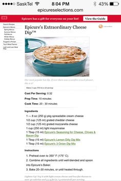 Epicure cheese dip- very good Epicure Recipes, Dip Recipes, Cooking Recipes, Epicure Cheese Dip, Appetizer Dips, Appetizer Recipes, Delicious Desserts, Yummy Food, Delish
