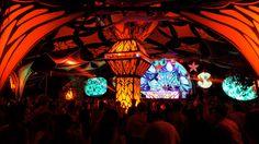 Festival Decoration. Mixed Media, Wood cutout, Lycra, Projection, Lights.