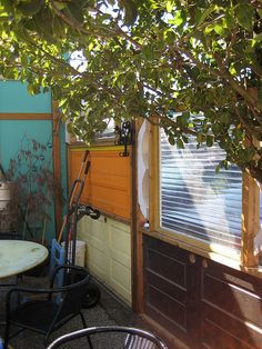 salvaged doors and windows as privacy fence