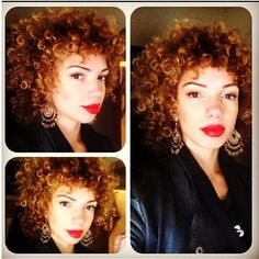 curly hair and red lip