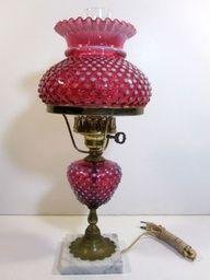 ANTIQUE FENTON LAMP