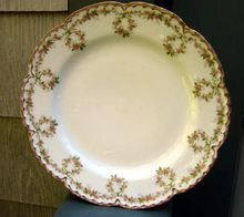 Antique Haviland Limoges Plate On Double Gold Trimmed Blank #121    This Haviland Pattern Features A Border Design Of Pink Floral Garlands Looping Around The Plate With Double Gold Trim Accenting The Scallops    Just Beautiful!  $46.00