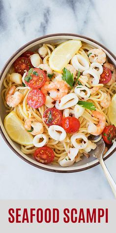 Seafood Scampi - seafood pasta with shrimp, squid and scallops in garlic lemon and butter sauce. Seafood Casserole Recipes, Seafood Boil Recipes, Pasta Dinner Recipes, Chowder Recipes, Appetizer Recipes, Shrimp Recipes, Shrimp And Squid Recipe, Squid Recipes, Shrimp And Scallop Recipes