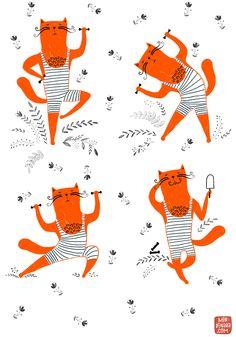 un poco de ejercicio, ilustración de Dinara Mirtalipova