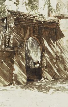 Paul Dmoch (Polish-Belgian, contemporary) - watercolor - gate - http://www.saatchiart.com/account/artworks/59544