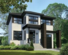 This superb contemporary two-storey house is very stylish thanks to panoramic windows, geometrical volumes and sleek lines. The house provides 1,660 square feet of living space, and is 30 feet wide by 36 feet deep. The adjoining 262 square-foot one-car garage has a side service door.  The ground floor provides 712 square feet of living space and features nine foot high ceilings. It includes an open entrance hall, a living room, a powder room, a kitchen with a large pantry and an island that…