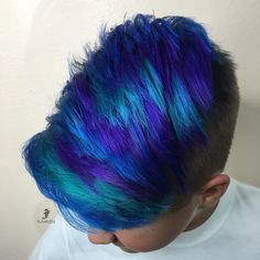 This awesome kid wanted some Galaxy hair ☄ Haircut by: Mens Hair Colour, Cool Hair Color, Summer Hairstyles, Cool Hairstyles, Galaxy Hair Color, Boys Colored Hair, Corte Y Color, My Hairstyle, Rainbow Hair