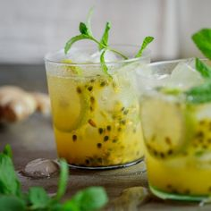 Passion fruit & ginger cocktail