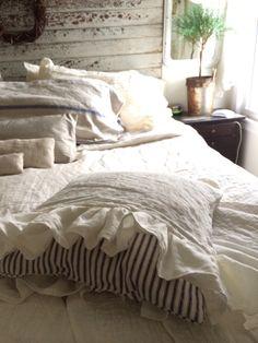 Ruffled linen case over vintage ticking pillow ~ by Heartfelt Finds