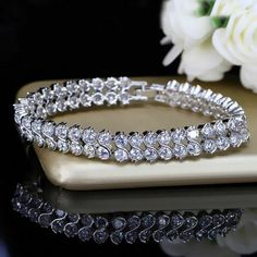 65d34a4138fd49 8Ct Round Brilliant Cut VVS1/D Diamond Tennis Bracelet 14K White Gold  #diamond_forest #