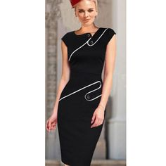 Black Summer Dress 2015 Women Wear to Office Ladies O-Neck Knee-length Sexy Empire Casual Bodycon Pencil Dresses Plus Size