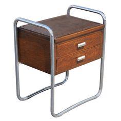 1stdibs.com | Art Deco PEL Tubular Chrome Oak And Leather Side Table