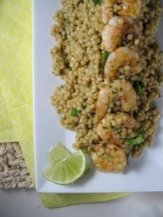 Israeli Couscous and Shrimp with Avocado Cilantro Lime Dressing by keystothecucina.com @Keys to the Cucina