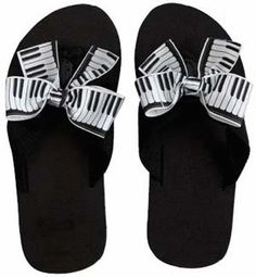 PIANO KEYS FLIP FLOPS Adult - Saucy grosgrain keyboard ribbons jazz up our black rubber flip flops. Available in Women's sizes: 9 Also Available in Kids sizes: 10 Piano Keys, Piano Music, Music Items, Music Stuff, Piano Gifts, Music Keyboard, Rubber Flip Flops, Kids Flip Flops, Music Crafts
