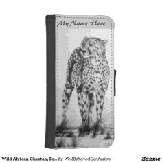 Wild African Cheetah, Forever Free, Retro Design Phone Wallet Cases