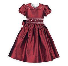 Stunning Cranberry Smocked Taffeta Dress