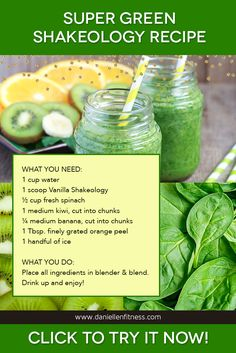 Green smoothies are a popular way to pack a ton of important nutrients into one meal. We've taken things to a new level by adding Shakeology to this delicious blend of healthy fruits and veggies. This recipe is a surefire way to kick start your day with energy. Try it with Vanilla or Greenberry Shakeology. // Shakeology Recipe // Green Smoothie // Green Smoothie Recipe // Green Shake // Superfood Shake // Spinach Smoothie
