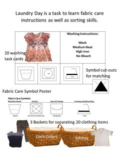 Life skill task that helps students learn about washing instruction and clothes sorting. Repinned by SOS Inc. Resources pinterest.com/sostherapy/.