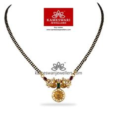 Emerald CZ Kasu Mangalsutra For other models, you can visit the category. Gold Temple Jewellery, Gold Jewellery Design, Gold Jewelry, Fancy Jewellery, Beaded Jewelry, Black Diamond Jewelry, Gold Necklace, India Jewelry, Antique Jewellery