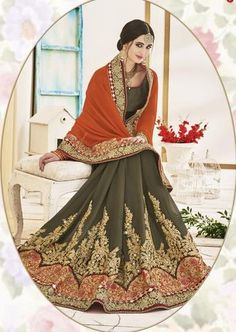 Olive Green With Light Orange Soft Chiffon Saree ,Indian Dresses - 2