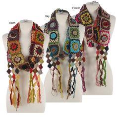 Crochet- granny squares colorful scarfs