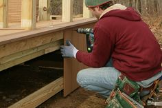 If you're pouring piers for an above-grade deck that calls for decorative skirting, you could install the boards right up to the piers and then notch them, but there's a better way.