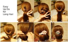 Here's an easy up-do for long hair!