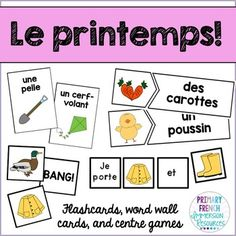"""Le printemps!  Flashcards, word wall cards, and centre games    Includes:    -60 word wall cards  -60 flashcards  -""""Bug in a rug"""" game pieces (print second set of flashcards for playing cards)  -""""Bang!"""" game cards  -60 puzzle matching cards (reading centre)  -156 sentence building cards"""