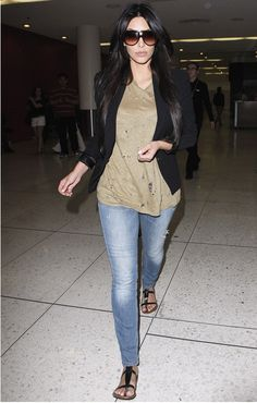 Kim Kardashian -- style inspiration. love her hair, sunglasses and blazer!