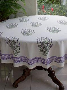 Lavender Dreams ~ French Provence Round White Tablecloth 90 Round Saffron  Marigold