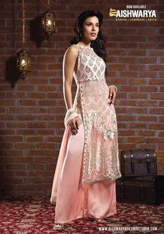 IN-Trend Fashion:  This baby pink colored straight cut-suit and Satin plazzo pants make it very comfortable and stylish.  Straight cut-suit online: http://www.aishwaryadesignstudio.com/a-line%20chudidar/17244-fashionable-baby-pink-color-straight-cut-suit.aspx