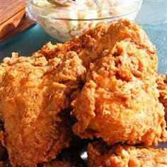 """Triple Dipped Fried Chicken Recipe - will need some spicing up! """"This is the crispiest, spiciest, homemade fried chicken I have ever tasted! It is equally good served hot or cold and has been a picnic favorite in my family for years. Homemade Fried Chicken, Making Fried Chicken, Crispy Fried Chicken, Fried Chicken Recipes, Deep Fried Chicken Thighs, Recipe Chicken, Deep Fried Chicken Batter, Fried Chicken Deep Fryer, Gourmet"""