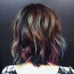 """Trending ""Oil Slick color""... by @hairbykotay using @pravana #oilslickhair #jeweltonehair #behindthechair"""