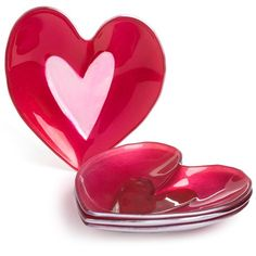 "DII Heart-Shaped 6"" Glass Plates - Set of 4)"