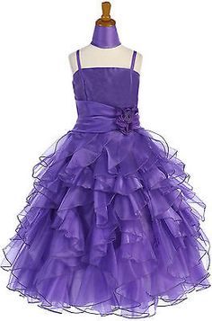 AMJ Dresses Girls 6 to 16 Purple Flower Girl Pageant Easter Formal Dress J3299