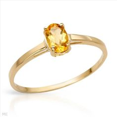 Attractive Brand New Ring With Genuine Citrine Beautifully Designed in 14K Yellow Gold- Size 7 - Certificate Available.