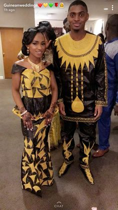Black and gold bazin couple Source by youmadiaw Couples African Outfits, Best African Dresses, Latest African Fashion Dresses, African Men Fashion, Couple Outfits, African Wedding Attire, African Attire For Men, African Clothing For Men, African Wear