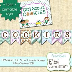 PRINTABLE Girl Scout Cookie Banner by by BitsyCreations on Etsy, $5.00 #girlscoutcookies #girlscouts