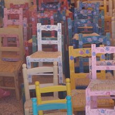 Painted chairs from Portugal- Alentejo. I just love these!!!