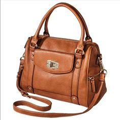 Brown Satchel w/ Removable Crossbody Strap There is slight fraying at the handles and light wear on the four bottom corners as seen in last photo [first 3 photos are of the bag in brand new condition, only the 4th pic is of bag in current condition]. Can be held by hand, or worn on wrist, elbow, or shoulder, as well as worn cross-body with removable strap. Merona Bags Shoulder Bags
