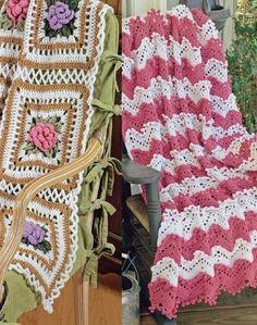 Cabbage Rose & Ripples Afghan Set Crochet Pattern