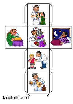 verteldobbelsteen ziek zijn, kleuteridee.nl, free printable Montessori Toddler, Montessori Activities, Activities For Kids, Preschool Decor, Preschool Printables, Coloring For Kids, Disney Coloring Pages, Story Cubes, Musical Toys