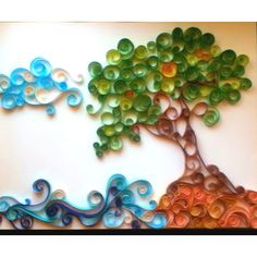 quilling tree and ocean This would be a great idea for the side's of a cake