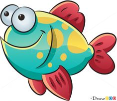 How to Draw Happy Fish, Sea Animals - How to Draw, Drawing Ideas, Draw Something. - My list of the most beautiful animals Fish Drawings, Cute Animal Drawings, Cartoon Drawings, Fish Cartoon Drawing, Sea Animals Drawings, Cartoon Sea Animals, Cartoon Fish, Inkscape Tutorials, Cute Fish