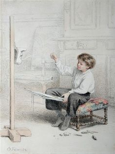 The drawing student by Pierre Edouard Frère
