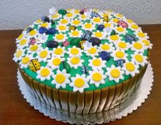 Lady Bug And Daisy Cake with a nice little detailed fence. Yummy vanilla cake