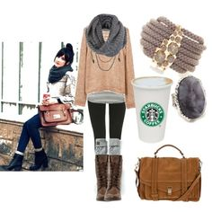 Grey infinity scarf, tan sweater, grey under shirt, black tights, brown boots, tanned cross body