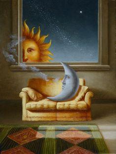 Dialoghi d'amore, oil on canvas, in Good Day Sunshine, Vintage Moon, Little Boy Blue, Sun Moon Stars, Star Wallpaper, Sun Art, Weird Creatures, Surreal Art, Painting For Kids