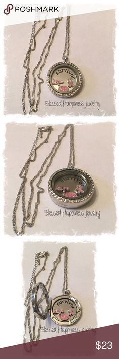 "💞Breast Cancer Awareness  Locket Necklace💞 25mm Magnetic Locket Necklace with plate ""Survivor"" and (2) Hope charms & (1) Breast Cancer Ribbon charm. Necklace is 18"" long. Plate and charm can be easily removed allowing you to change out the charms. Made from Zinc Alloy. Ships packaged in a giftbox. Jewelry Necklaces"